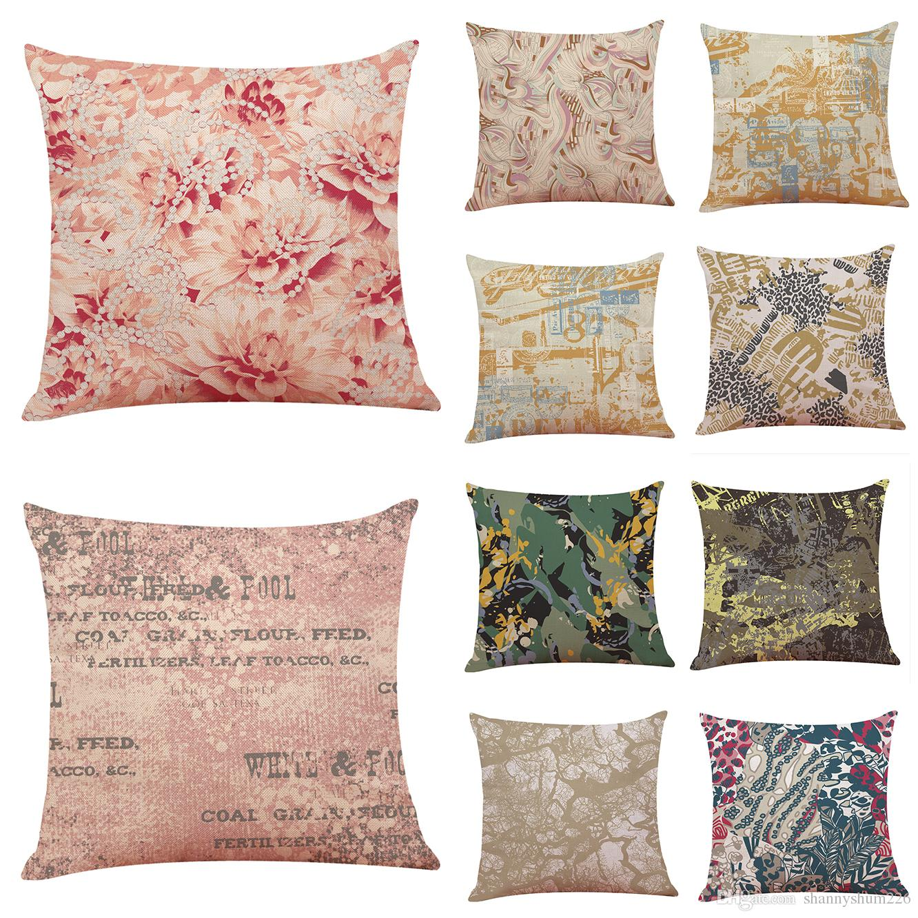 2018 New Floral Abstract Linen Cushion Cover Home Office Sofa Square Pillow Case Decorative Cushion Covers Pillowcase Without Insert 18 18