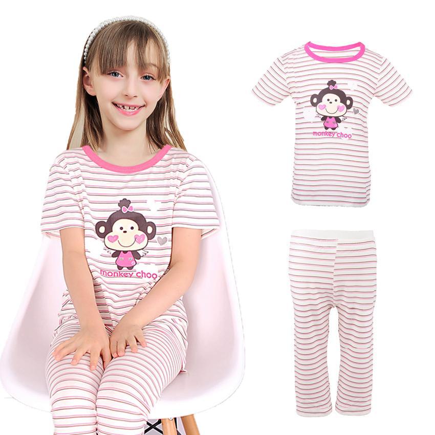 008544eb05 Compre Pijama Para Niñas De Verano De Algodón Ropa De Los Niños Ocasionales  De La Buena Calidad Niños Grandes Conjuntos De Pijamas De Niñas Conjuntos  De ...