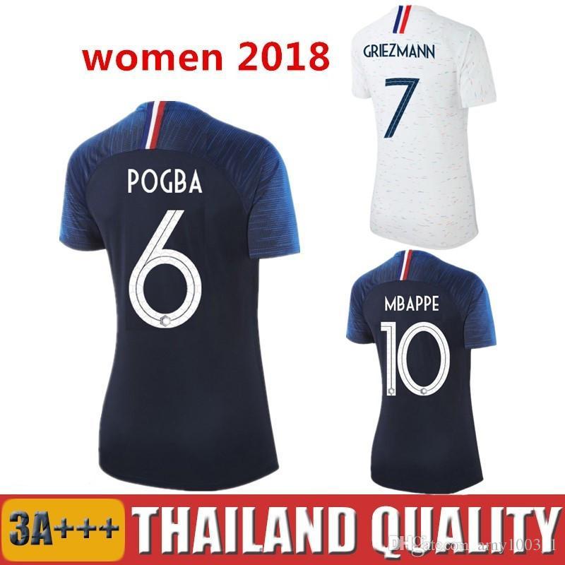 9ed96122f6021 Compre Mulheres Pogba France Futebol Jersey 2018 Copa Do Mundo 18 19 PAYET  DEMBELE MBAPPE França Camiseta GRIEZMANN KANTE Grils Camisas De Futebol  Senhoras ...