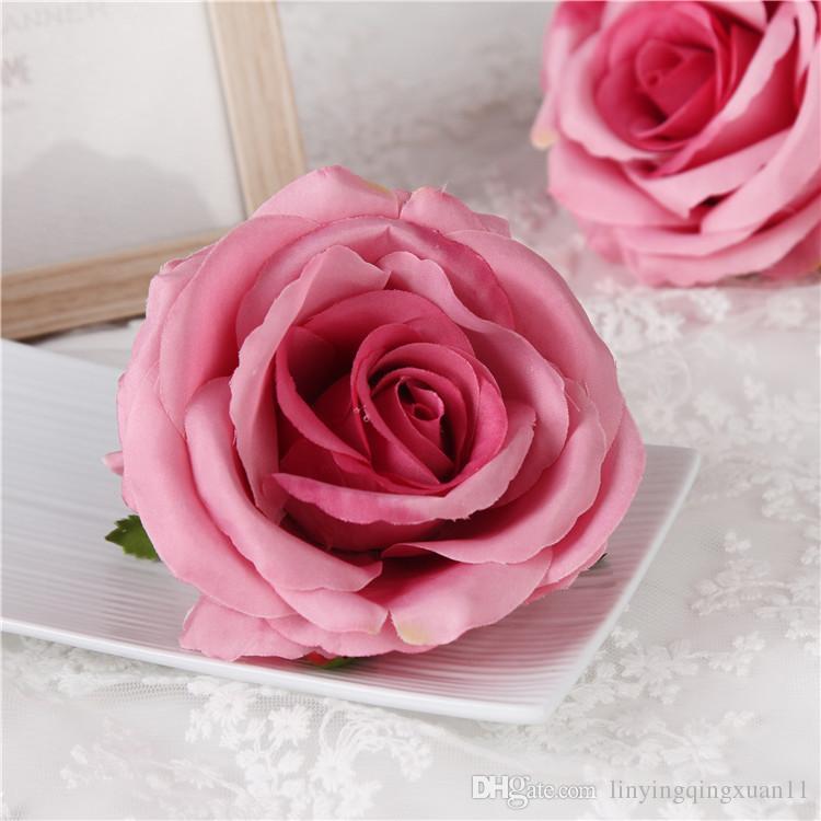 fiore artificiale 9 cm teste di rose partito decorazione della parete arco di nozze decorazione fai da te forniture di seta rosa scrapbooking artigianato corona