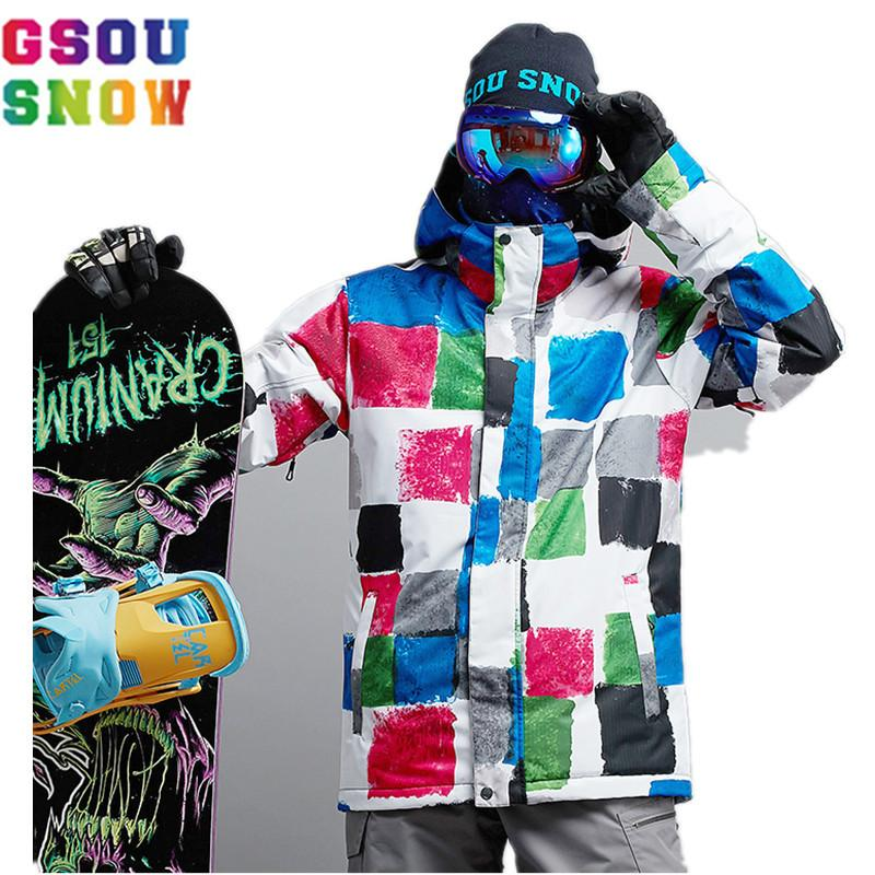 c2fb6730c9 2019 GSOU SNOW Ski Snowboard Jacket Men 2017 Winter Outdoor Mountain Skiing  Jacket Waterproof Windproof Colorful Printed Snow Coat From Kimgee
