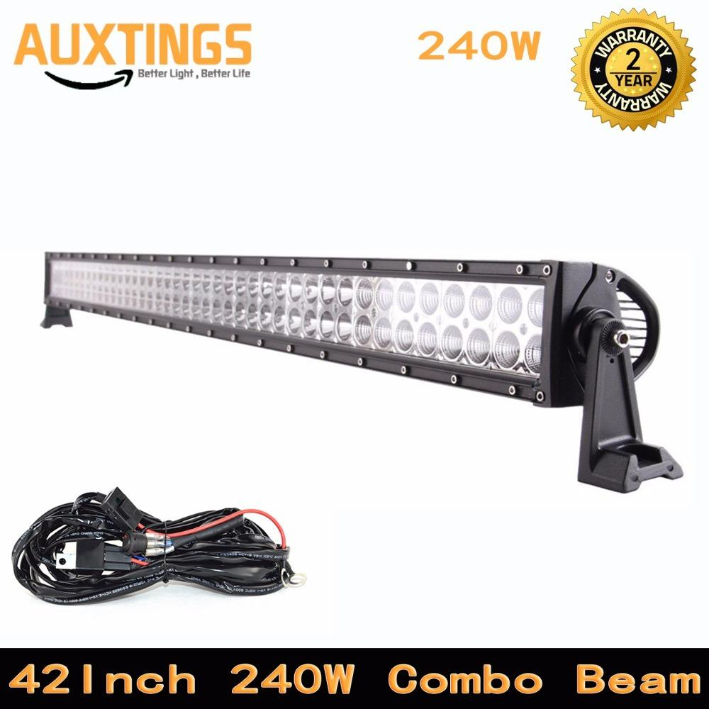 Automotive Led Light Bar 42inch 240w 4x4 Combo Beam Offroad Wiring Work Lights Tractor Driving With Kit For Truck Atv Suv Car