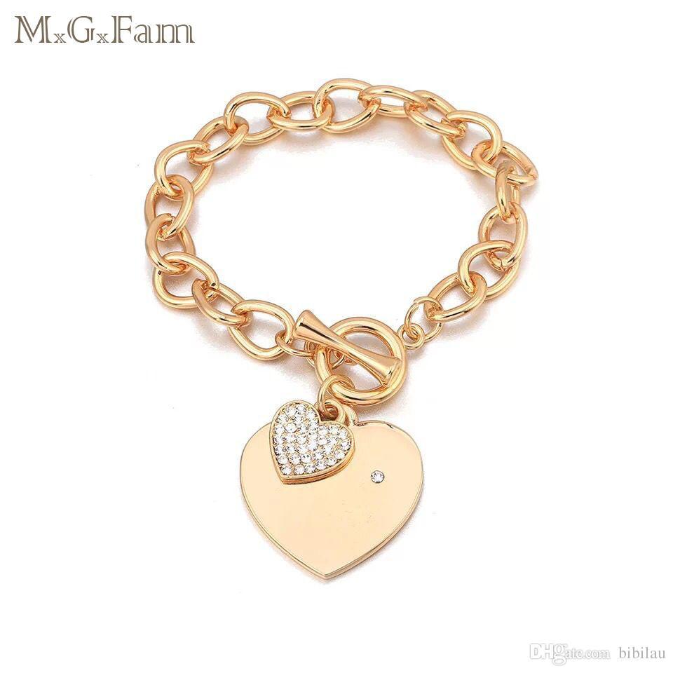 326cc6de5 MGFam 279B Heart Charms Bracelet For Women Crystal Hot Jewelry 18k ...