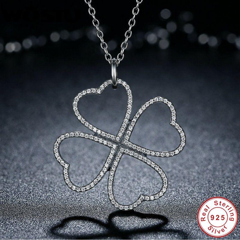 WOSTU Marke 100% Echt 925 Sterling Silber Blütenblätter der Liebe Anhänger Halsketten Für Frauen Original Schmuck Geschenk CRN007