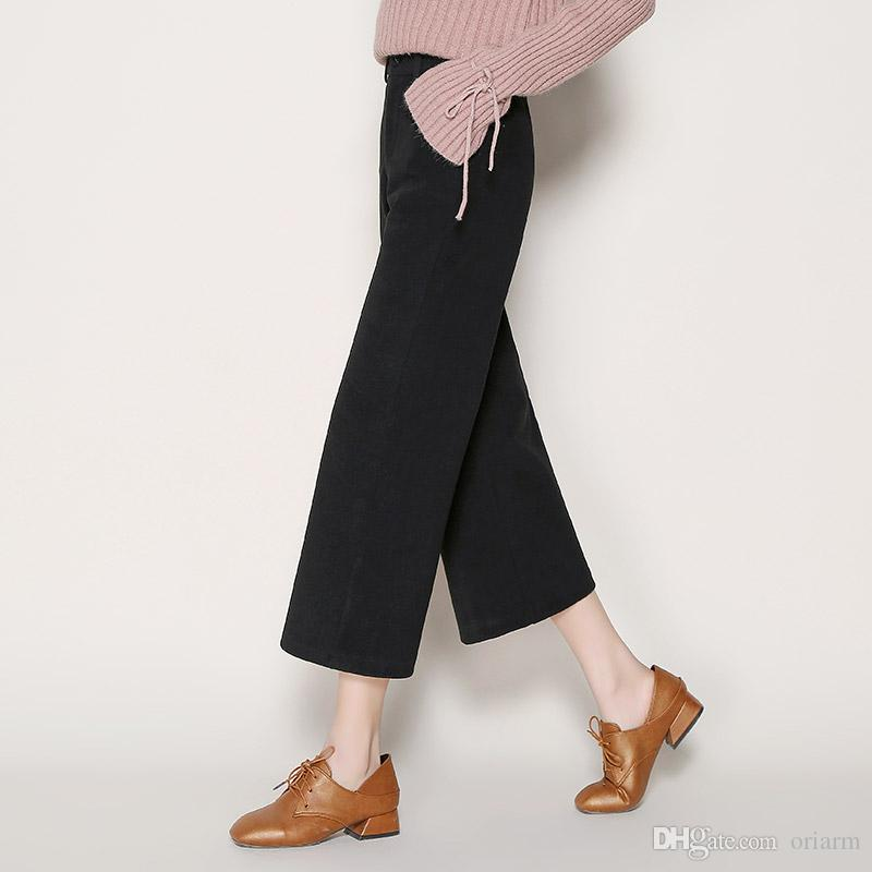 2019 Fashion Wide Leg Cropped Pants For Women Straight Thick Palazzo
