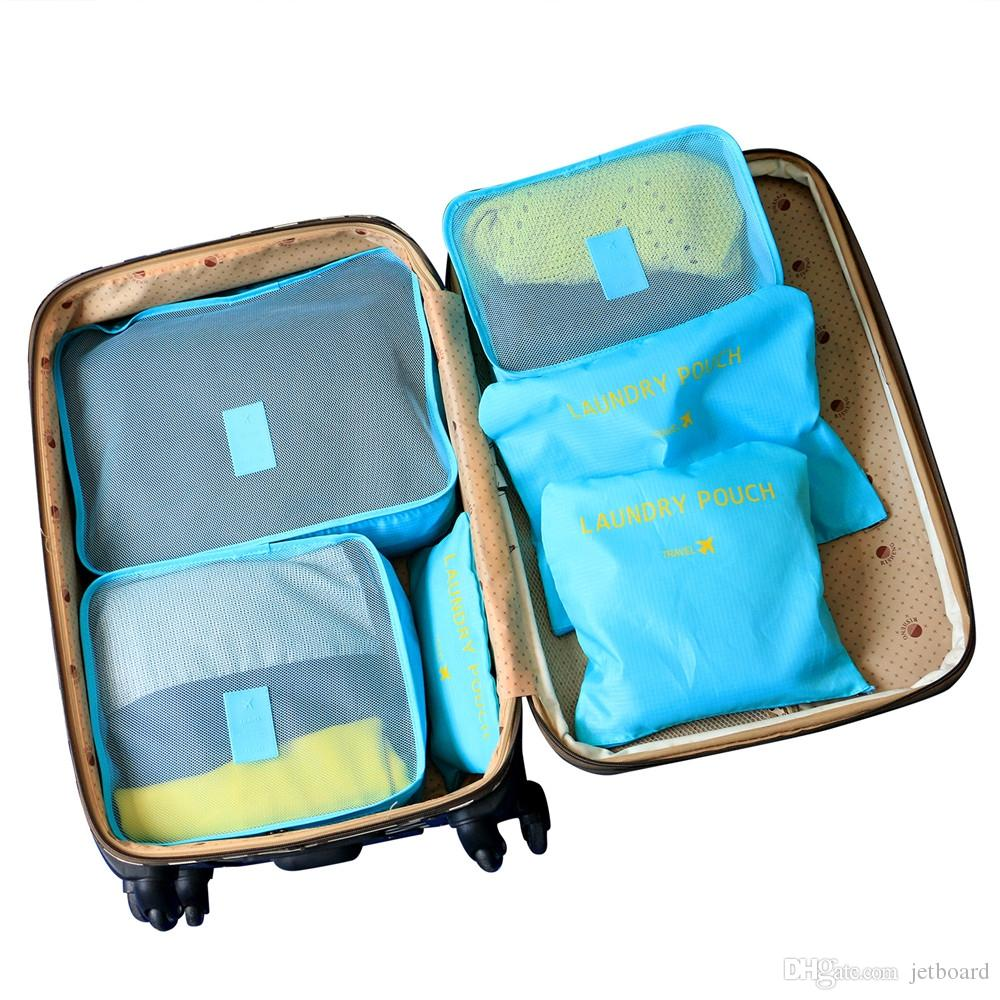 6pcs of bags travel bags 6 space saving including bags tissue travel (blue) suits the case of 24 / 25 inches