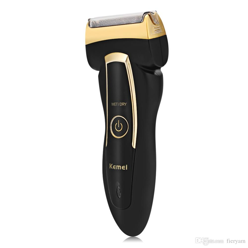 Kemei Electric Shaver Safe Rechargeable Rotary Beard Trimmer Shaving Machine Travel Use Twin Heads Shaver for Men KM-858