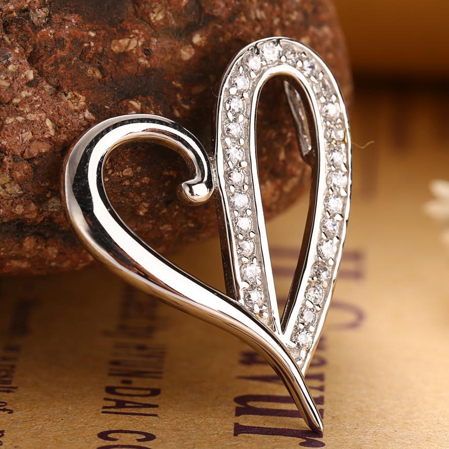 5cc5c7c0006f Compre Collar Colgante En Forma De Corazón De Plata Maciza 925 Para Mujer  En Oro Blanco De 18 K A  32.07 Del Wutiamou