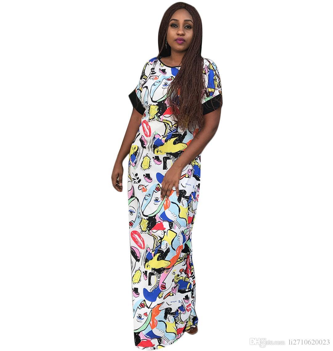 Compre Vestidos Africanos Para Las Mujeres 2018 Moda Sexy Vestido De  Impresión Africana Kaftan Lady Casual Dress Mujeres De Verano Largo Vestido  Maxi ... c9c80d38e9e5
