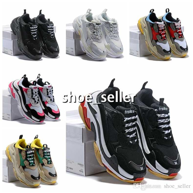 2d6e116aec1c Hot!!2018 Fashion Paris 17FW Triple S Sneaker Triple S Casual Luxury Dad  Shoes For Men S Women Beige Black Sports Tennis Running Shoe 5 11 White  Running ...