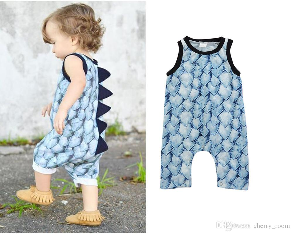 5e880ff29 2019 New 2018 Baby Boys Romper Jumpsuits Dinosaurs Scales Rompers Vest  Toddler Kids Clothing One Piece Cute Boys Girls Climb Clothes A8975 From  Cherry_room, ...
