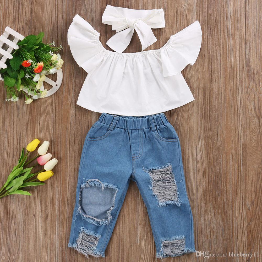 5ea3ac18c Compre Summer Toddler Infant Child Girl Kids Off Shoulder Tops Pantalones De  Mezclilla Jeans Outfits Headband 3Pz Sets Sets De Ropa A $28.15 Del  Blueberry11 ...