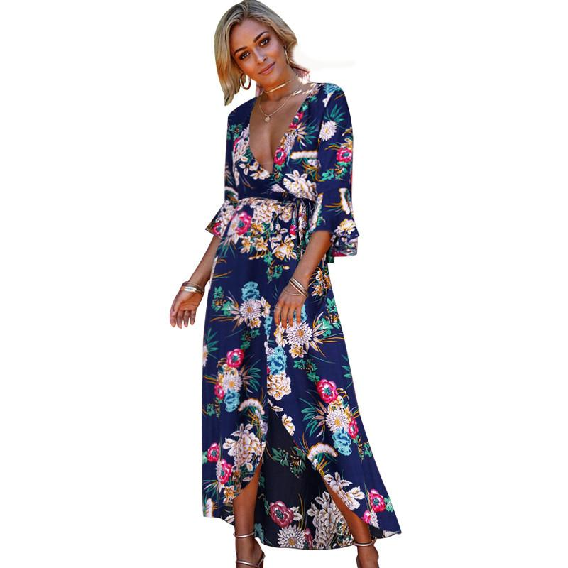 cd2378861f4e5 Women Chiffon Floral Print Boho Maxi Dress Summer Beach Sexy V-Neck Ruffles  Sleeve Split Vestidos Women Elegant Party Dress S-XL
