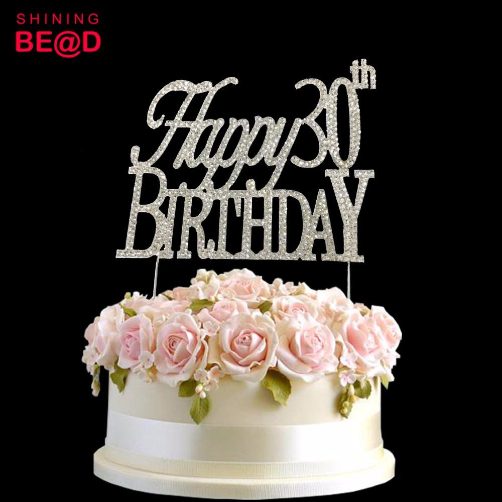 2019 Happy 30th Birthday Party Cake Decoration Silver Rhinestone Topper From Igarden002 11827