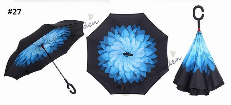 Creative inverted umbrellas double layer with C handle or J handle inside out reverse Windproof umbrella Many colors available