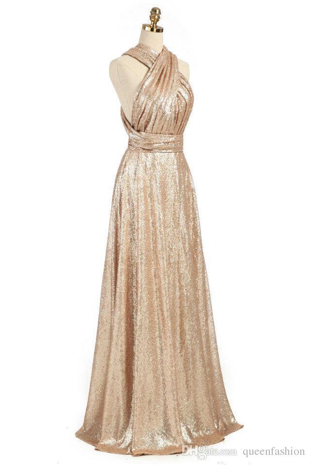 Paillettes d'or convertibles paillettes robes de demoiselle d'honneur d'une longue ligne robes de demoiselle d'honneur robes de soirée de mariage