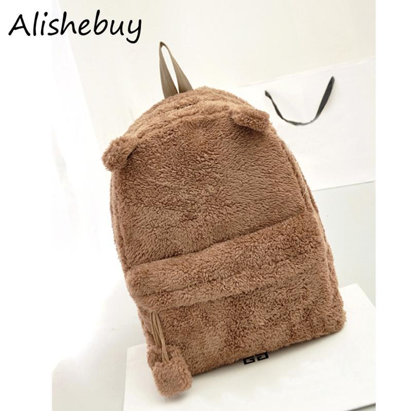 Cute Women Backpacks Panda Schoolbag Winter Fleece Plush Campus Book School Bag College Bear Backpack Black Brown Bags SV010195