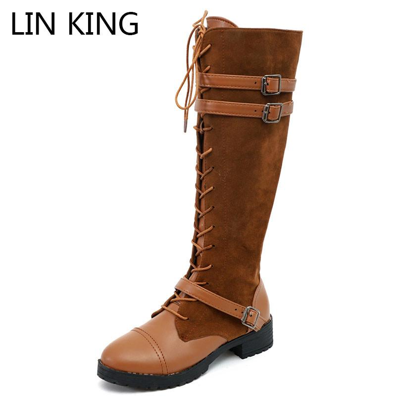 7f0078e544611 LIN KING Plus Size Women Winter Boots Med Heel Zipper Long Boots Cross Tie  Knight Botas Buckle Knee High Ladies Motorcycle Shoes Moon Boots Red Shoes  From ...