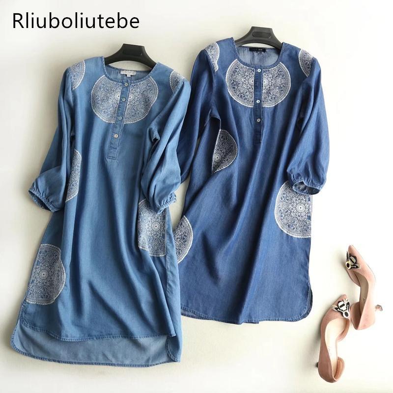 Compre mujeres bordadas soft jeans vestido flojo azul claro jpg 800x800  Flojo vestidos jeans 7a1da29ac686