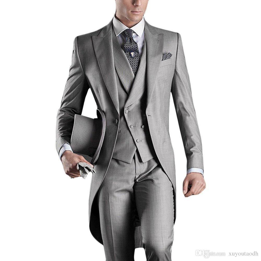 Handsome European Italian Style Men Suits Slim Fit Groom Tailcoats Light Grey Custom Made Prom Groomsmen Men Wedding Suits Jacket+Pants+Vest