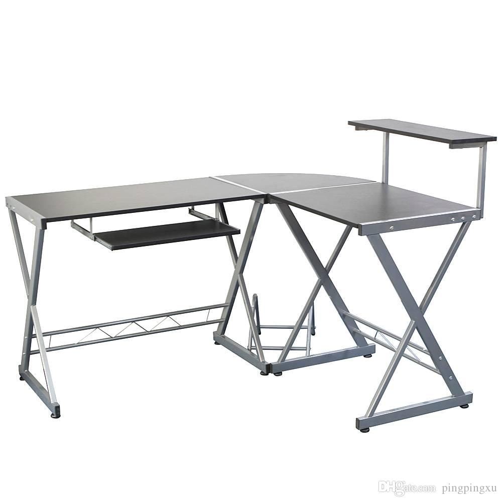 2019 L Shaped Wooden Computer Desk With Top Shelf Gray ...