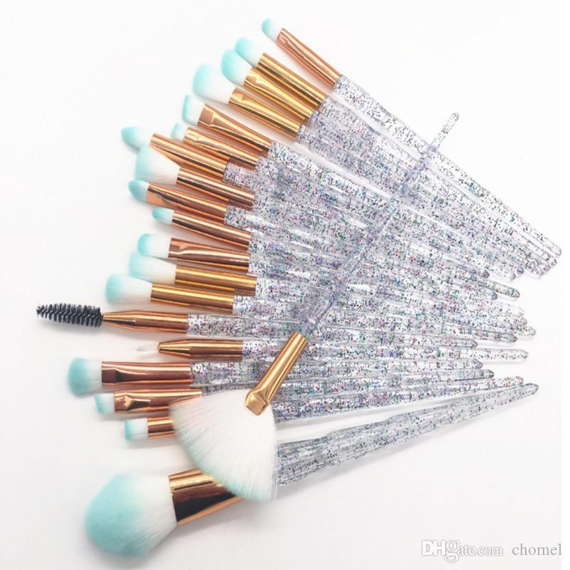 O Novo 20 pçs / sets unicórnio diamante transparente pincel de maquiagem conjunto pincel de maquiagem ferramenta frete grátis