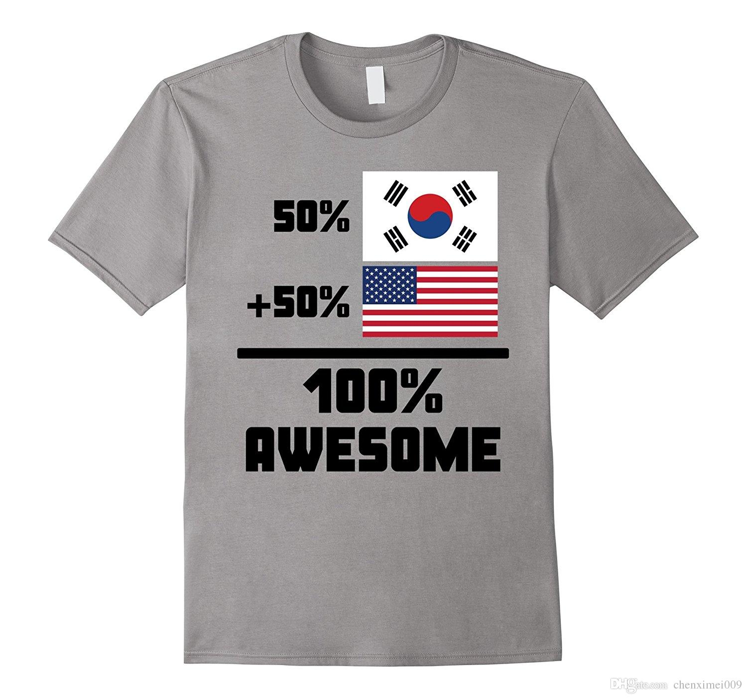 57102df5a 50 South Korean 50 American 100 Awesome Funny Flag Shirt T Shirts In A Day Awesome  Tee Shirt Designs From Chenximei009, $14.21| DHgate.Com