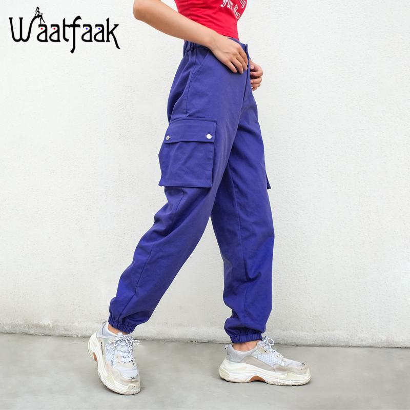 Compre Waatfaak Cargo Pantalones Mujer Casual Sólido Blanco Azul Bolsillo  De Algodón Cintura Alta Señoras Pantalones Lápiz Sudor Invierno Pantalon  Femme ... e2a42b2b1bb5