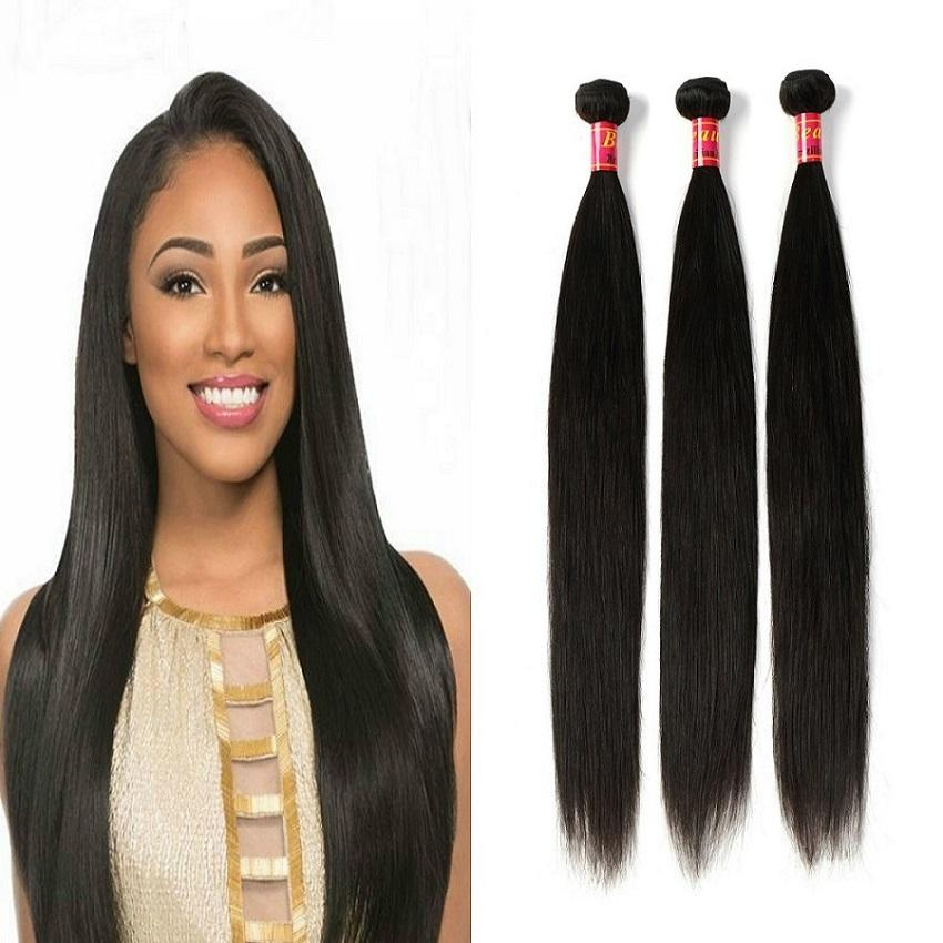 100 Virgin Hair Brazilian Straight Hair Weave 3 Bundles Remy Human