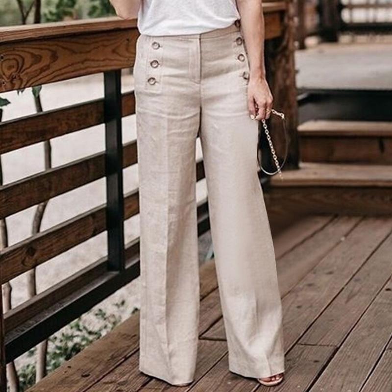 267a339eda40bd LAAMEI 2018 femmes mode coton lin pantalon large jambe couleur pure  occasionnels taille haute pantalon pleine longueur boutons pantalon  respirant