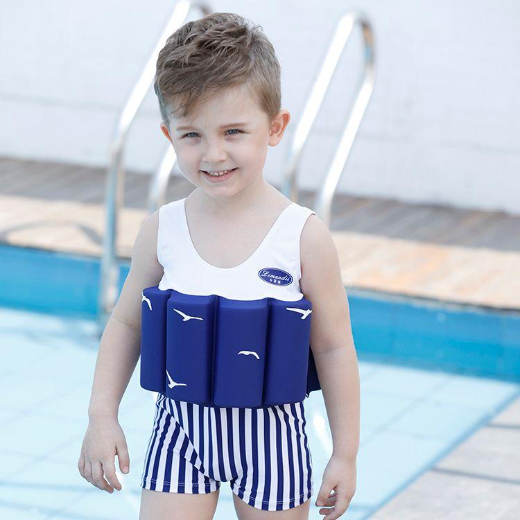 2018 Novos Meninos Fresco Listrado Cor Sólida One-piece Floyancy Swimsuit com 8 Cotovelos de Algodão Empilhável Removível Swimwear Infantil Bebê Swimwear