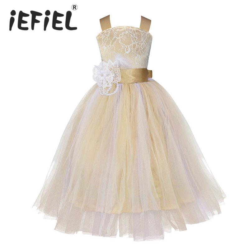 631fb854270 2019 IEFiEL Kids Girls Wedding Flower Girl Dress Princess Party Pageant  Formal Dress Crossed Back Sleeveless Lace Tulle Dress 2 14Y Y1891308 From  Shenping01 ...