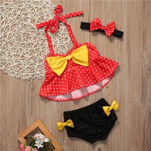 Lovely Baby girl Swim wear Bikini sets with headband Dots Print Lovely Halter Bow Kids Swimwear Two-Pieces Beach clothing 2018 Summer