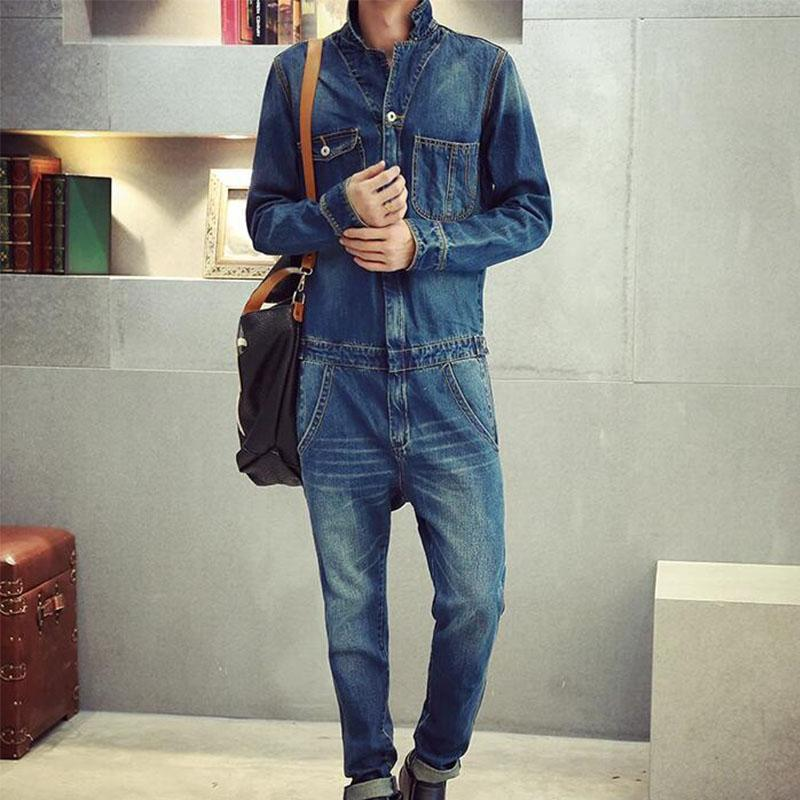 d6c8d1b910e 2019 Denim Jumpsuits Men Retro Garment Washed Jean Jumpsuit Long Sleeves    Turn Down Collar Distressed Jumpuit Male From Bairi