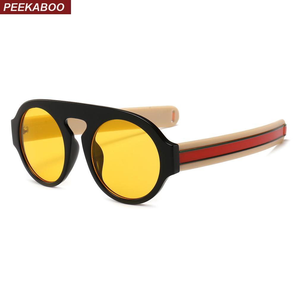 Compre Peekaboo Retro Gafas De Sol Redondas Mujeres Amarillo Lente  Diseñador 2019 Gafas De Sol De Alta Moda Para Hombre Clásico Uv400 Negro A   18.72 Del ... 3cb4ec09315a