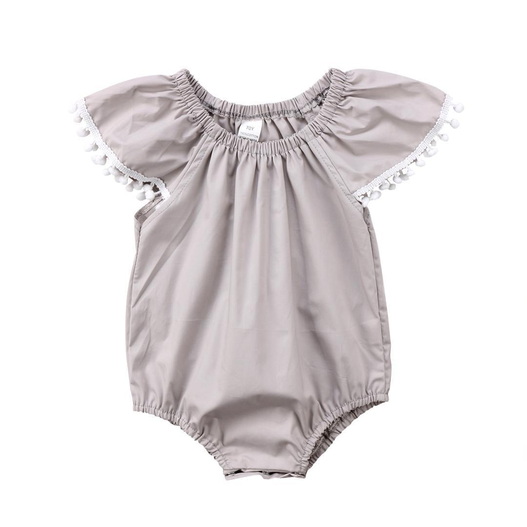 1d8ba02bab74 2019 Summer Newborn Kid Baby Girl Clothe Cute Pom Pom Cotton Romper ...