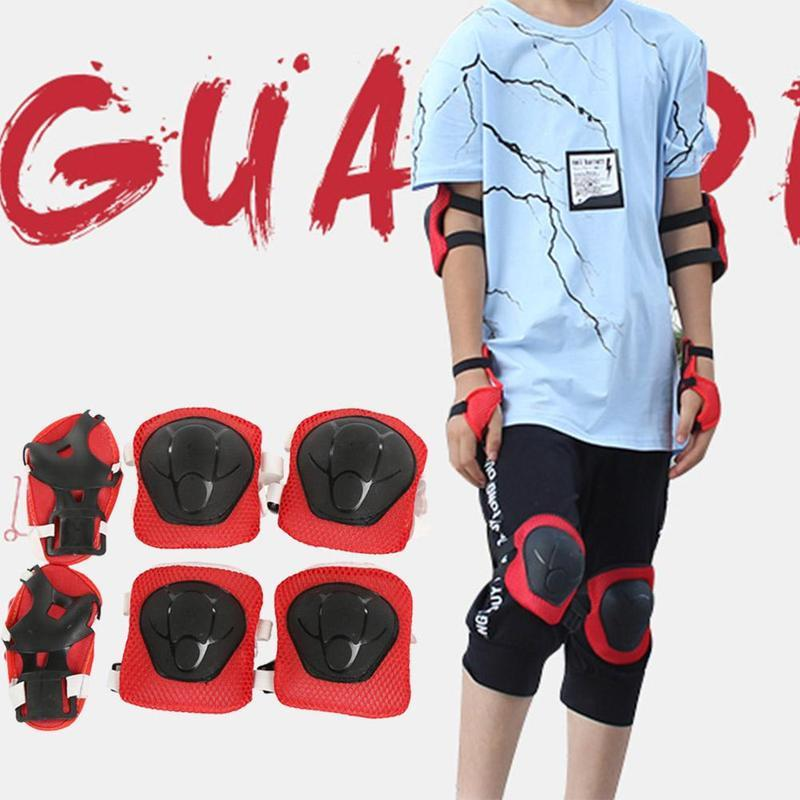 6pcs/set Skating Protective Gear Sets Elbow Knee Pads Wrist Protector Protection for Scooter Roller Skating Skateboard For Kids