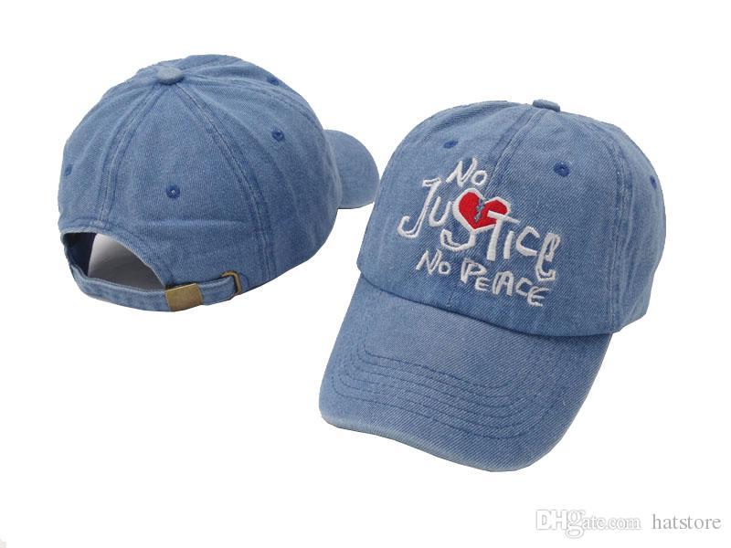 b4cd80c3395 New Design Denim Blue No Justice No Peace Embroidery Adjustable Hat  Baseball Cap Hip Hop Hat Men Women Curved Snapback Caps High Quality Ball  Cap Wholesale ...