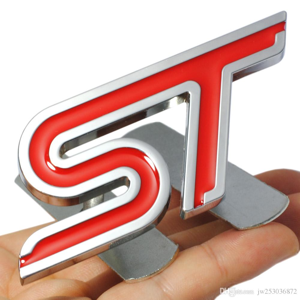 Metal Red ST Front Grille Sticker Car Head Grill Emblem Badge Chrome Sticker for FORD FIESTA FOCUS MONDEO Auto Car Styling