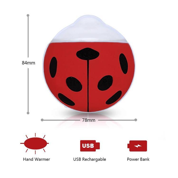 New Beetle Hand Warmer Rechargeable Portable Portable Mini Chauffe-Eau USB Hand Warmer 3500 mAh Mobile Power Pocket Warmer