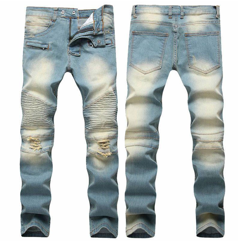 c53feb08 2019 Autumn Men Ripped Jeans Slim Fit Denim Pants Tiedye Jeans Men Pleated  Motorcycle Biker Jeans Hip Hop Strech For Man From Clothingdh, $50.77 |  DHgate.