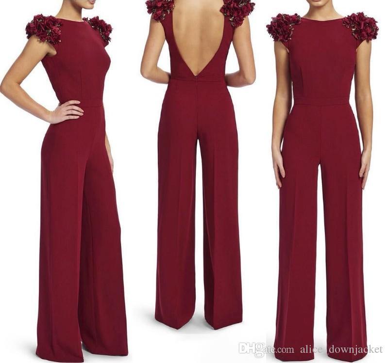 0399f2499b Elegant fashion slim summer women jumpsuits wine red backless jpg 799x749  Wine chiffon jumpsuits