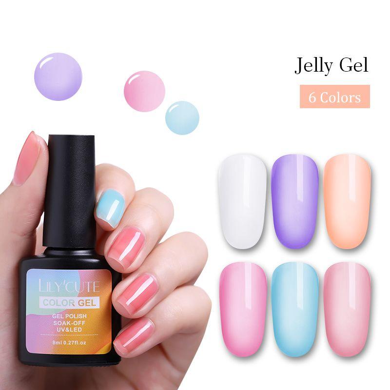 LILYCUTE 8ml Opal Jelly Gel Nail Polish Soak Off Nail Art Polish UV LED Semi Vernis Permanent Gel Lacquer Nail Polish Nail From Appleeye, $37.86| DHgate.Com