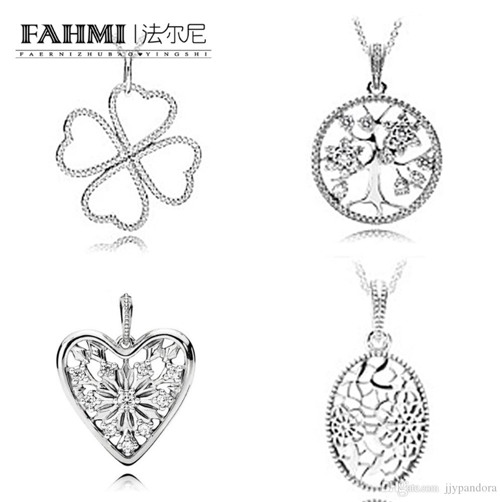 84aaa5bec491b FAHMI 100% 925 Sterling Silver 1:1 Charm Petals of Love FAMILY TREE  NECKLACE WITH PENDANT
