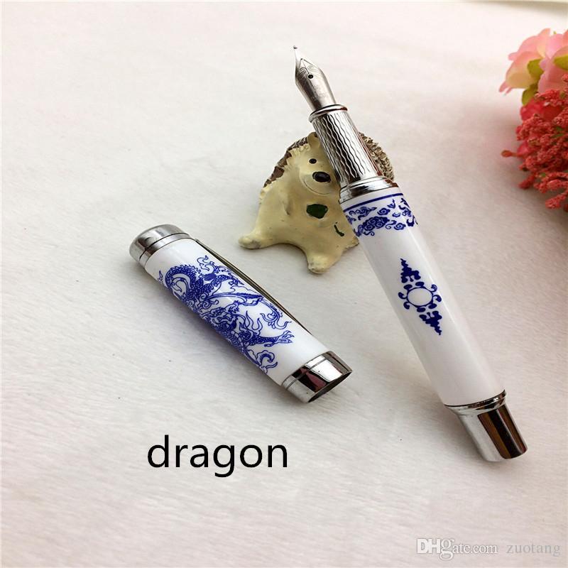 Старинные Дракон природных керамическая авторучка роскошные каллиграфия высокого класса китайский синий и белый фарфор бизнес подарок чернильная ручка в твердом переплете коробка