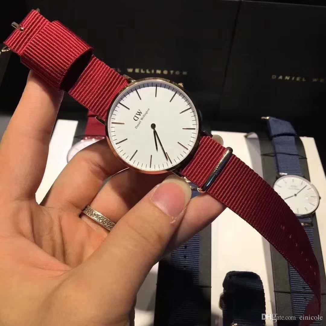 Neue Markenmännerfrauen Daniel Uhr-rote blaue Uhr-Nylonband-40MM-Quarz-Uhr der Männer