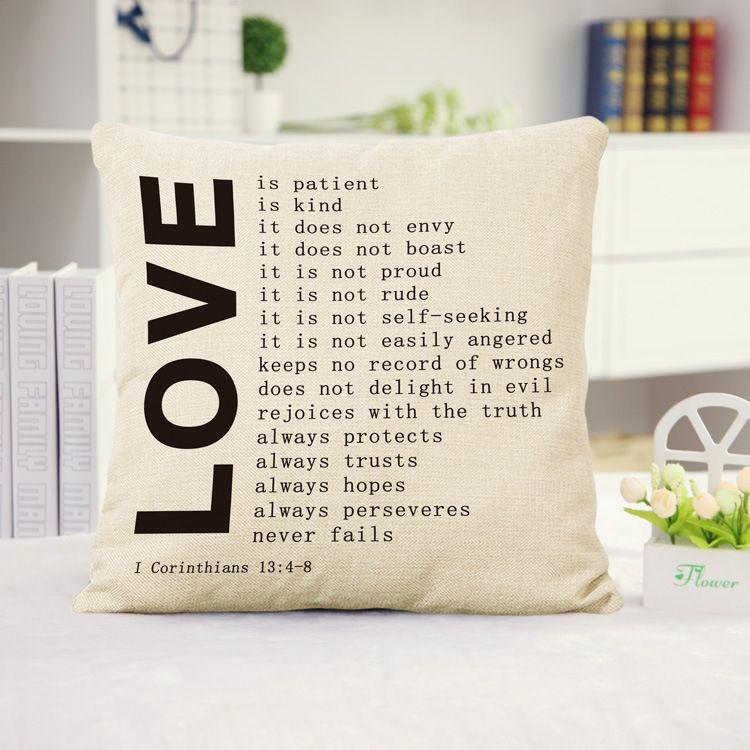 Lovers Pillow Case Simple San Valentino Regali Lino Federe Casa Arredamento Camera da letto Cuscini divani Coprire 44 * 44 cm