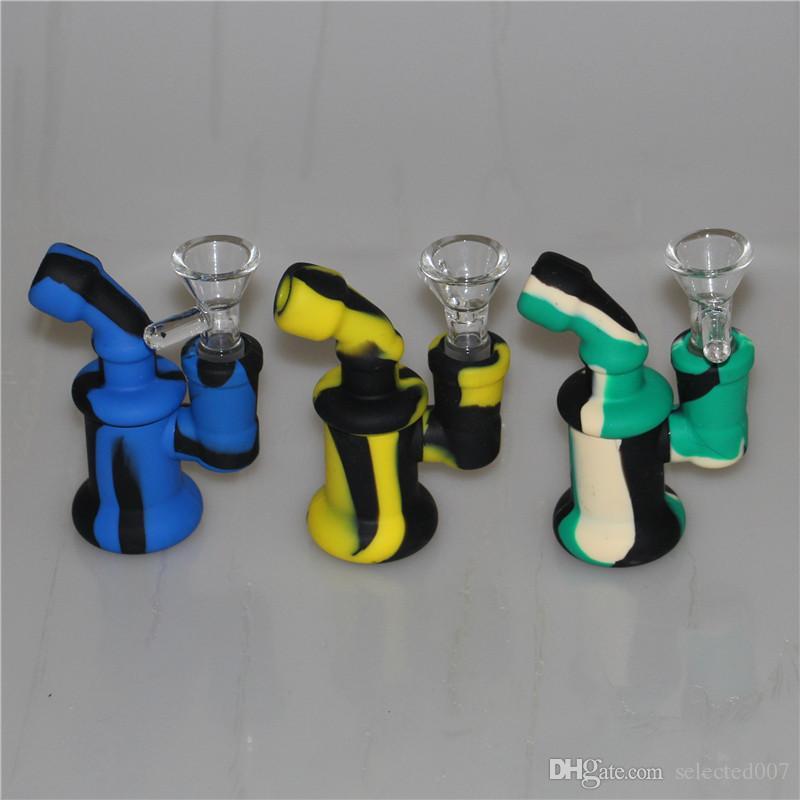 Мини силиконовые бонги небольшой Dab горелки трубы барботер курительные трубки высокое качество нефтяных вышек силиконовые кальян со стеклянной чашей