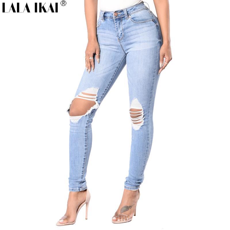 d2b54458a67e3 Acheter Taille Plus Lavé Taille Haute Jeans Dames Trou Stretch Jeans Crayon  Pantalon Pantalon Zipper Femmes Détruit KWA0225 45 De $27.1 Du Sikaku |  DHgate.