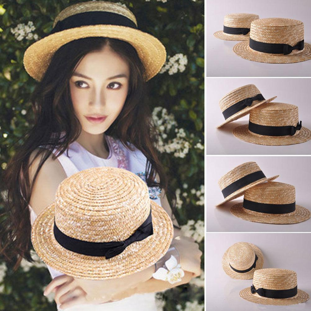 Fashion Women Girls Summer Boho Straw Sun Hat Bow Flat Top Lady Girl Casual  Hat Wide Brim Beach Cap Beach Hats Sun Hats For Women From Watchoutmate 14e6a41cfd1